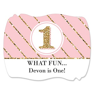 Fun to be One - 1st Birthday Girl - Personalized Birthday Party Squiggle Stickers - 16 ct