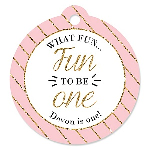 Fun to be One - 1st Birthday Girl - Personalized Birthday Party Tags - 20 ct