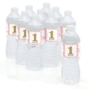 Fun to be One - 1st Birthday Girl - Personalized Birthday Party Water Bottle Sticker Labels - Set of 10