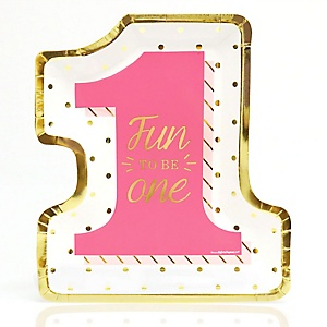 Fun to be One - 1st Birthday Girl with Gold Foil - Birthday Party Dinner Plates - 8 ct