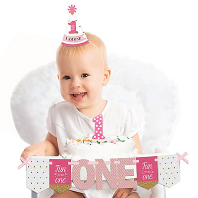 1st Birthday Girl - Fun To Be One - 1st Birthday Girl Smash Cake Decorating Kit - High Chair Decorations