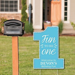 Fun to be One - 1st Birthday Boy - Party Decorations - Birthday Party Personalized Welcome Yard Sign