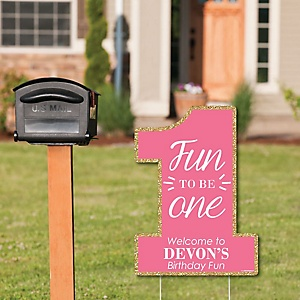 Fun to be One - 1st Birthday Girl - Party Decorations - Birthday Party Personalized Welcome Yard Sign