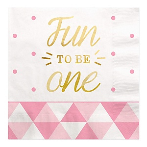 Fun to be One - 1st Birthday Girl with Gold Foil - Birthday Party Luncheon Napkins - 16 ct