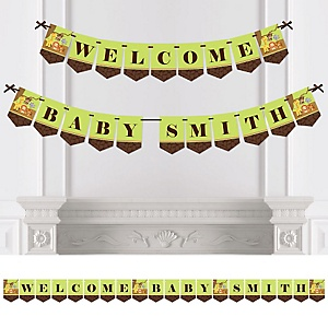 Funfari™ - Fun Safari Jungle - Personalized Baby Shower Bunting Banner
