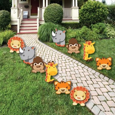 Funfari™   Fun Safari Jungle   Lawn Decorations   Outdoor Baby Shower Or  Birthday Party Yard Decorations   10 Piece