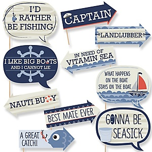 Funny Ahoy - Nautical - 10 Piece Photo Booth Props Kit
