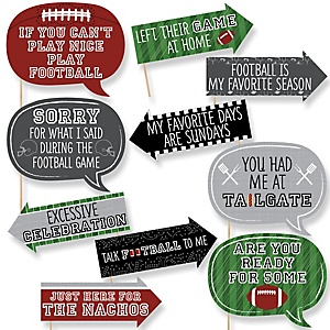 Funny End Zone - Football - 10 Piece Baby Shower or Birthday Party Photo Booth Props Kit
