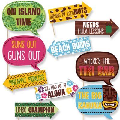funny luau 10 piece hawaiian photo booth props kit