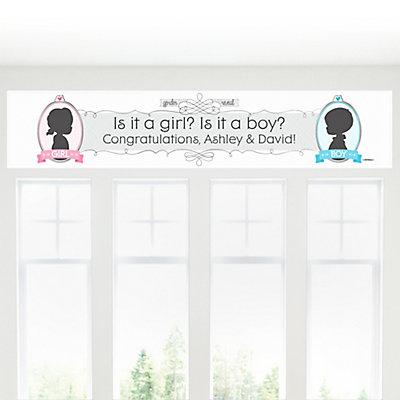 Gender Reveal baby shower Banner sign