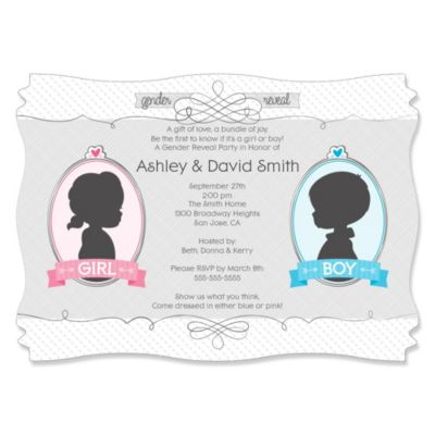 Gender Reveal   Personalized Party Invitations