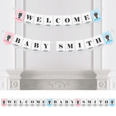 Gender Reveal Baby Shower Personalized Banner