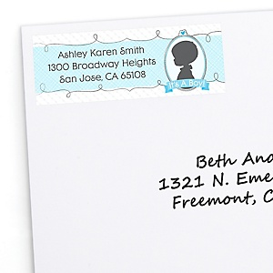 Gender Reveal Boy - Personalized Baby Shower Return Address Labels - 30 Count