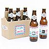 Gender Reveal - Boy - Gender Reveal Scratch Off Beer Bottle Labels and 6-Pack Carrier - Set of 6