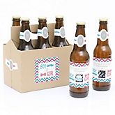 Gender Reveal - Boy - Gender Reveal Scratch Off Beer Bottle Labels and 6-Pack Carrier - Set of 6