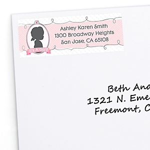 Gender Reveal Girl - Personalized Baby Shower Return Address Labels - 30 Count