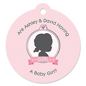 Gender Reveal - Girl - Round Personalized Gender Reveal Tags - 20 ct