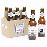 Gender Reveal - Girl - Gender Reveal Scratch Off Beer Bottle Labels and 6-Pack Carrier - Set of 6