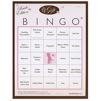 Gift Bingo - Bridal Shower Game - 50 ct