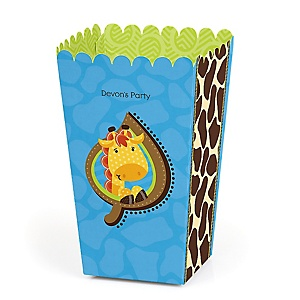Giraffe Boy - Personalized Party Popcorn Favor Treat Boxes