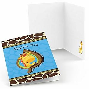 Giraffe Boy - Baby Shower Thank You Cards - Set of  8