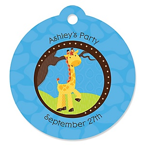 Giraffe Boy - Personalized Baby Shower Round Tags - 20 Count