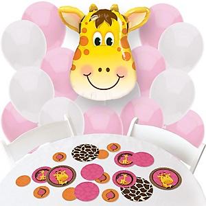 Giraffe Girl - Confetti and Balloon Party Decorations - Combo Kit