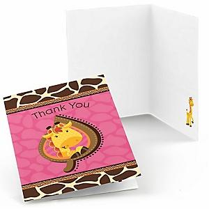 Giraffe Girl - Baby Shower Thank You Cards - Set of  8