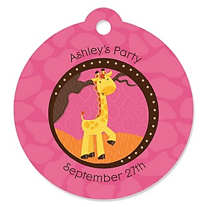 Giraffe Girl - Personalized Baby Shower Round Tags - 20 Count