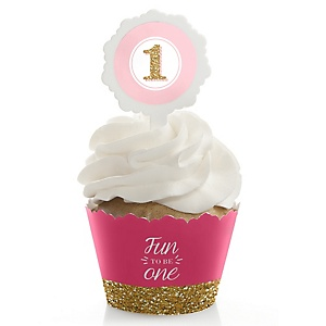 Fun to be One - 1st Birthday Girl - Birthday Party - Cupcake Wrapper & Pick Party Kit - Set of 24
