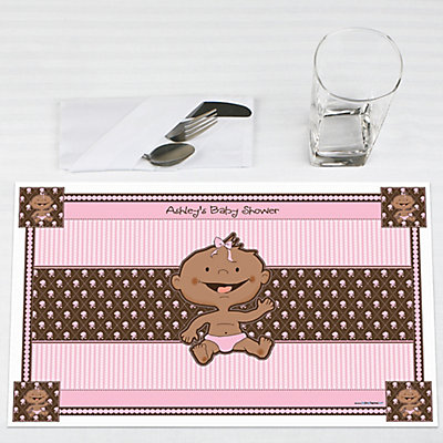 Baby Girl African American Baby Shower Placemats