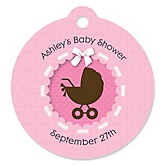 Girl Baby Carriage - Round Personalized Baby Shower Die-Cut Tags - 20 ct