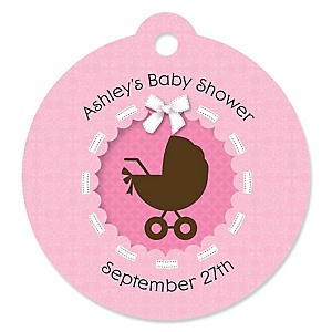 Girl Baby Carriage - Personalized Baby Shower Round Tags - 20 Count