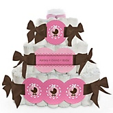 Girl Baby Carriage - 3 Tier Personalized Square Baby Shower Diaper Cake