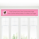 Girl Baby Carriage - Personalized Baby Shower Banner