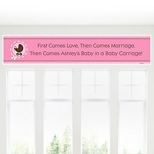 Girl Baby Carriage - Personalized Baby Shower Banners