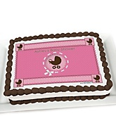 Girl Baby Carriage - Personalized Baby Shower Cake Image Topper