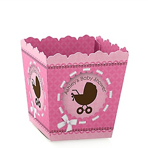 Girl Baby Carriage - Personalized Baby Shower Candy Boxes