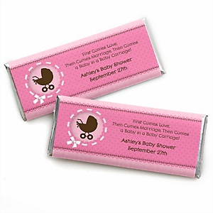 Girl Baby Carriage - Personalized Baby Shower Candy Bar Wrapper