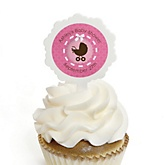 Girl Baby Carriage - 12 Cupcake Picks & 24 Personalized Stickers - Baby Shower Cupcake Toppers