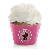 Girl Baby Carriage - Baby Shower Cupcake Wrappers
