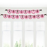 Girl Baby Carriage - Personalized Baby Shower Garland Banner