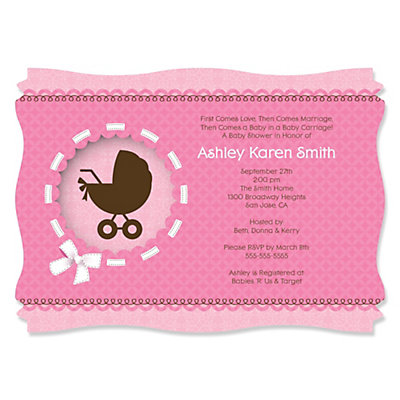 Girl Baby Carriage - Personalized Baby Shower Invitations Baby Shower Party Supplies