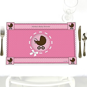 Girl Baby Carriage - Personalized Baby Shower Placemats