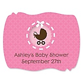 Baby Girl Carriage - Personalized Baby Shower Squiggle Sticker Labels - 16 Count