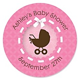 Girl Baby Carriage - Personalized Baby Shower Round Sticker Labels - 24 Count