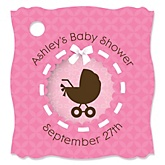 Girl Baby Carriage - Personalized Baby Shower Tags - 20 Count