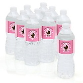 Girl Baby Carriage - Baby Shower Personalized Water Bottle Sticker Labels - 10 Count
