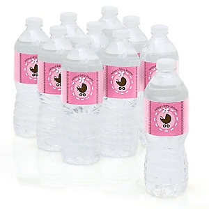 Girl Baby Carriage - Personalized Baby Shower Water Bottle Sticker Labels - Set of 10