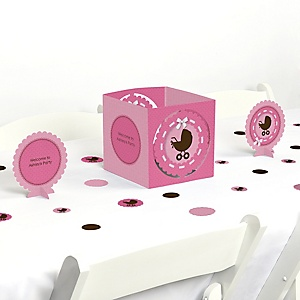 Girl Baby Carriage - Baby Shower Centerpiece & Table Decoration Kit